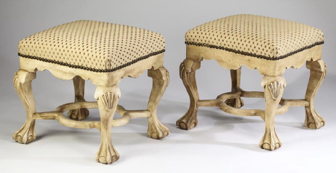(2) Paint decorated & upholstered tabourets