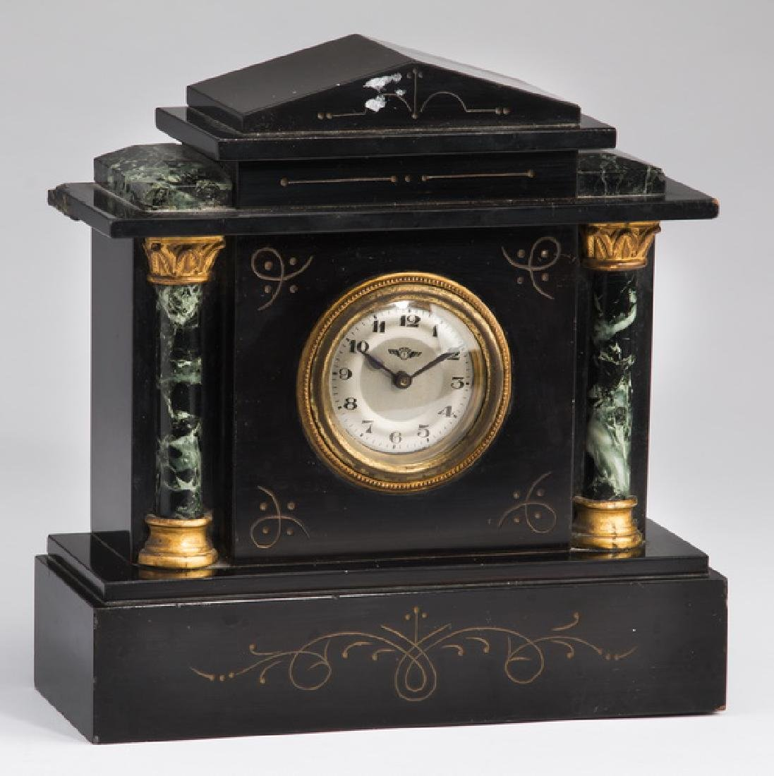 "Petite slate and marble mantel clock, 8""h"