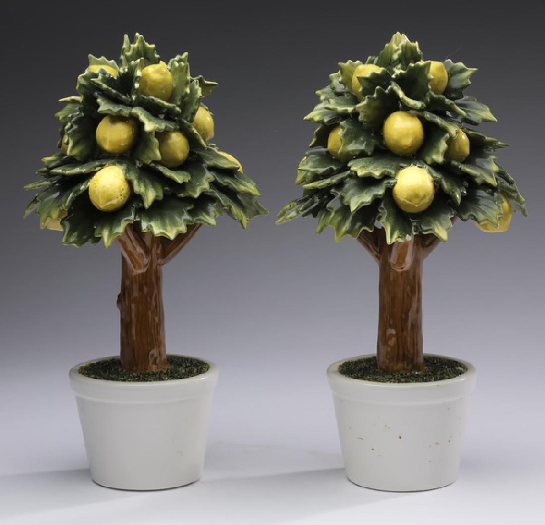 "Pair of Capodimonte style lemon tree topiaries, 11""h"