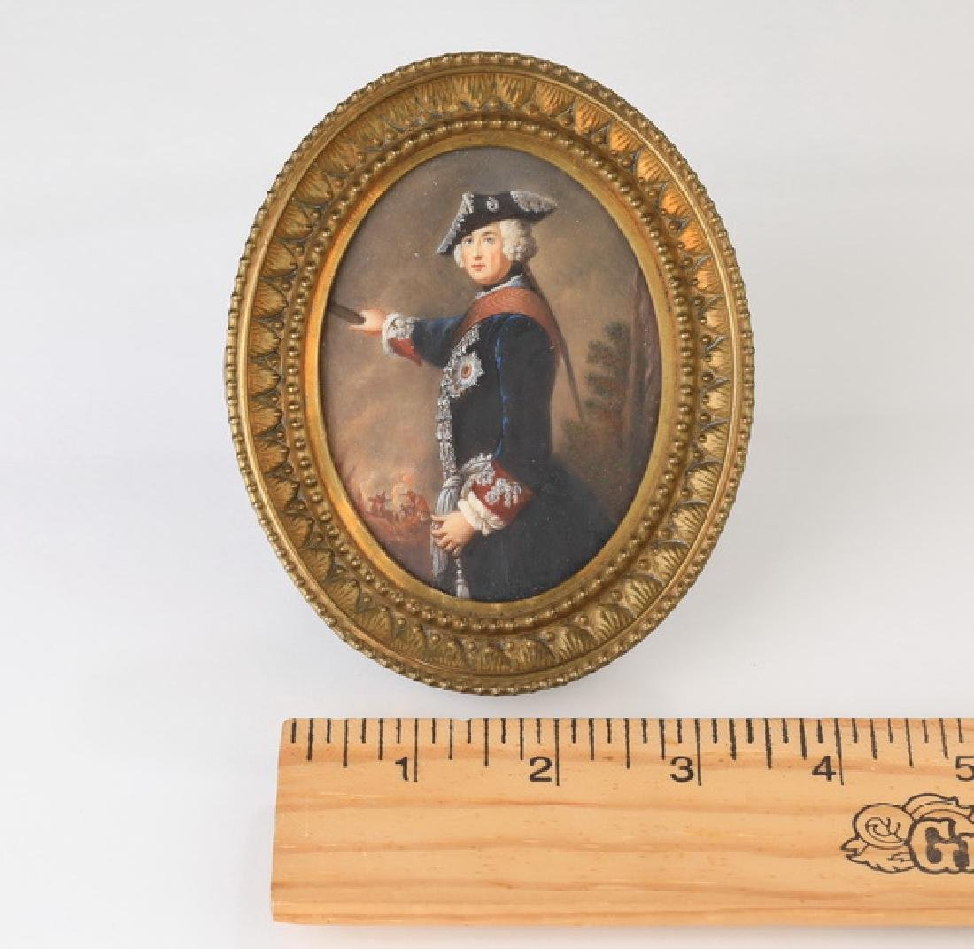 """Hand painted miniature portrait of Frederick II, 5""""h"""