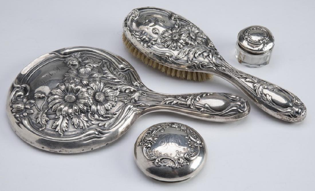 "(4) Art Nouveau sterling vanity accessories, 10""l"