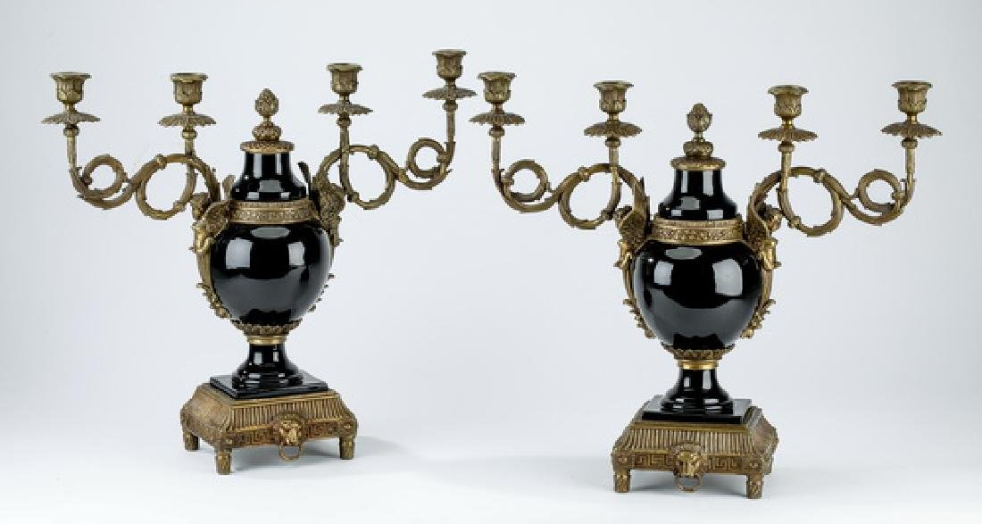 (2) Bronze mounted 4-arm French style candelabra