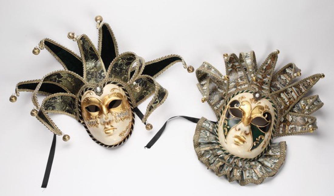 """(2) La Maschera del Galeone Carnival masks, 15""""h"""
