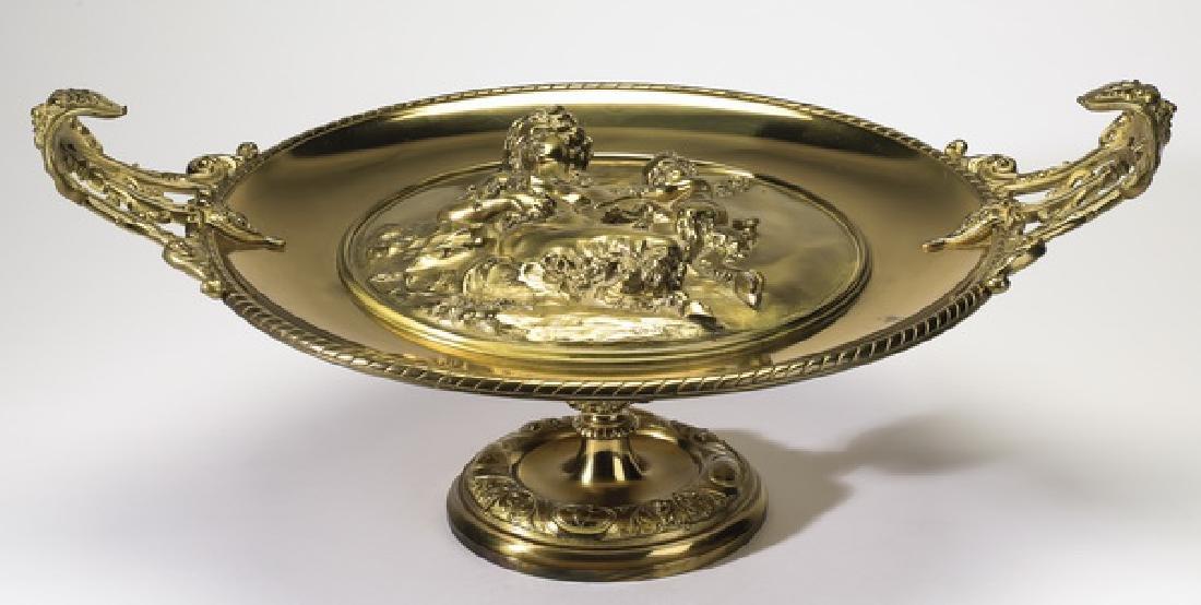 "Continental dore' bronze tazza after Clodion, 21""dia"