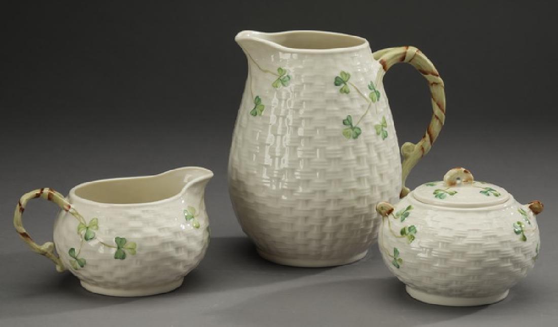 3 Pc Belleek porcelain 'Shamrock' table accessories