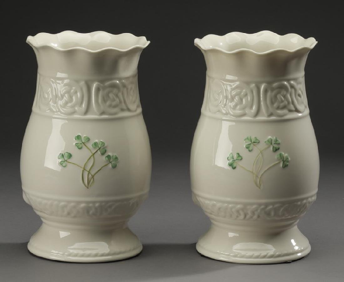(2) Belleek porcelain vases in the 'Tara' pattern