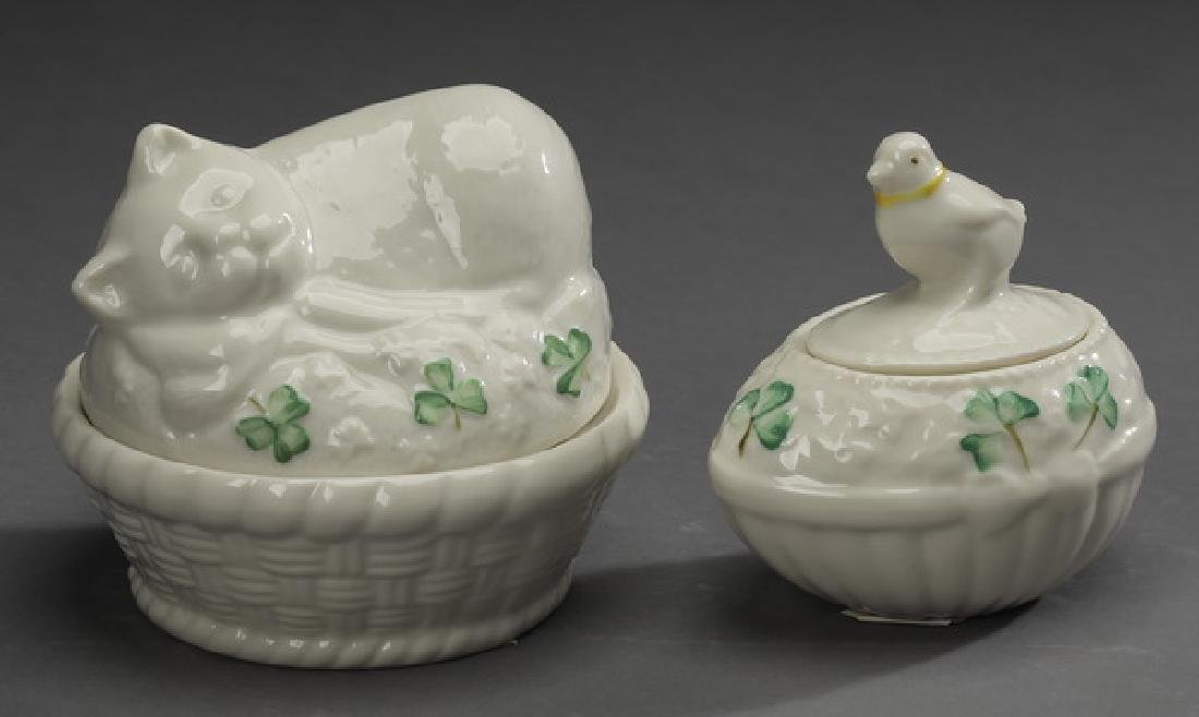 2 Pc Belleek porcelain cat & chick lidded boxes