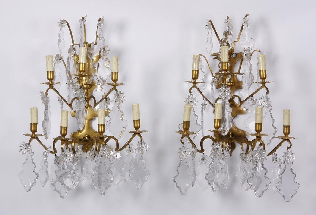 (2) Early 20th c. bronze & crystal appliques