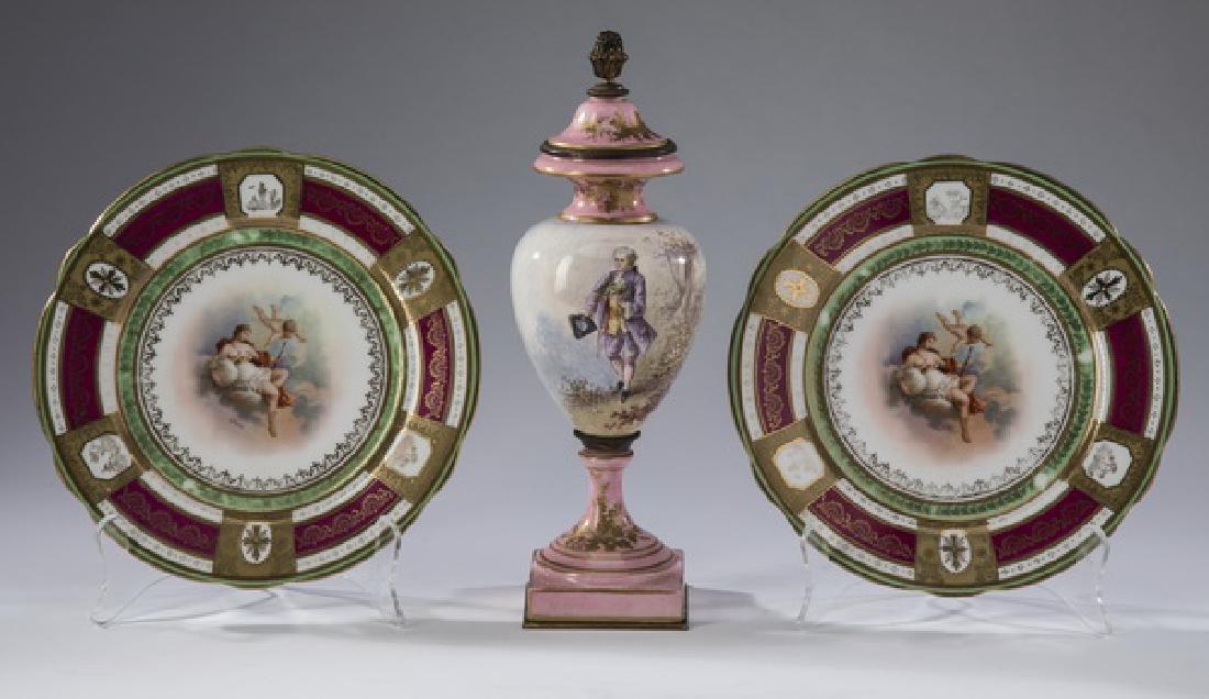 "(3) Pcs Contintental porcelain, incld Dresden, 10""h"