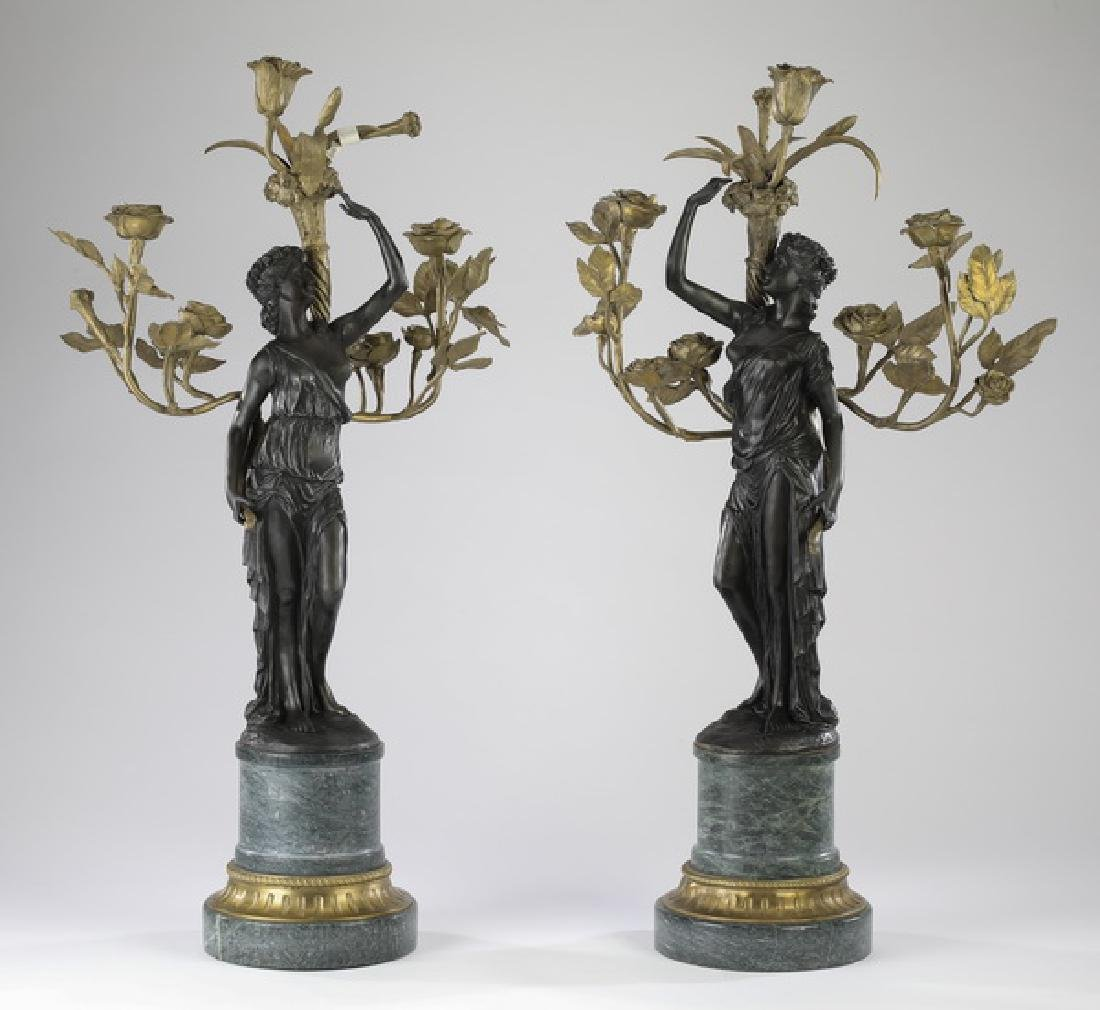 "Pair of bronze & marble figural candelabra, 33""h"