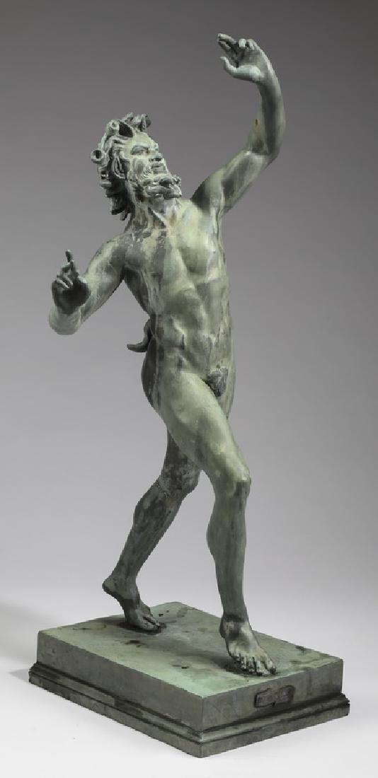 """19th c. patinated bronze 'Dancing Faun' sculpture 32"""""""