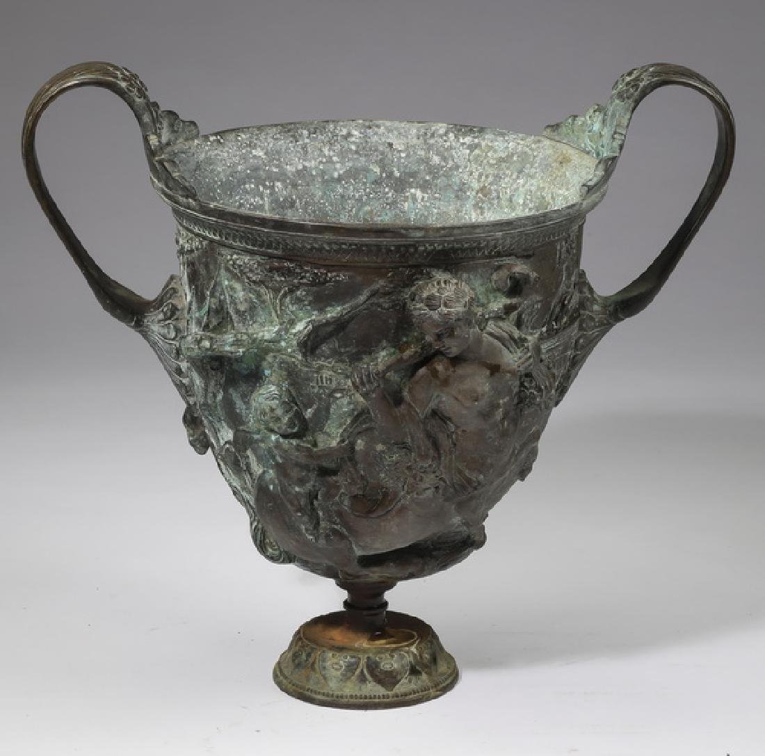 """Patinated bronze urn w/ Cupid and centars, 14""""h"""