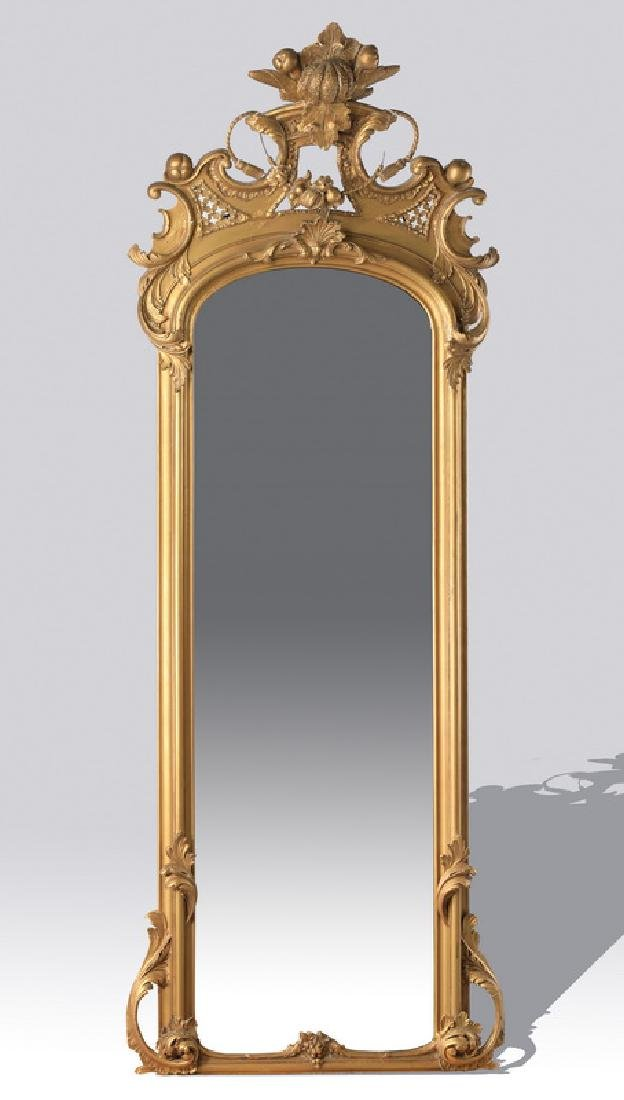 "19th c. carved figural gilt wood pier mirror, 95""h"