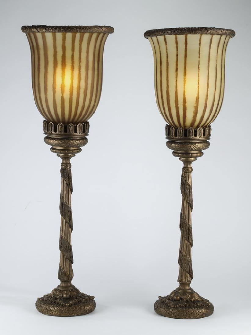 Pair of Empire style gilt torchiere lamps