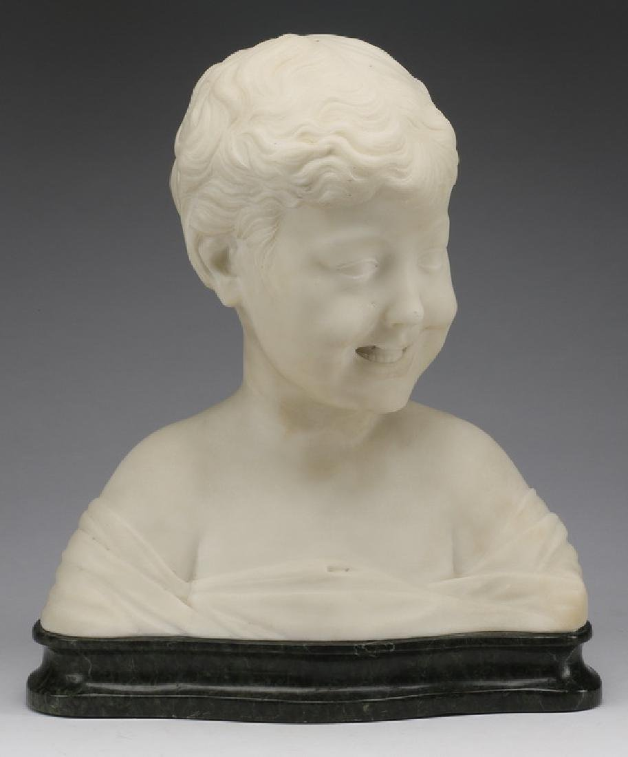After Settignano, 19th c. white marble bust of a boy