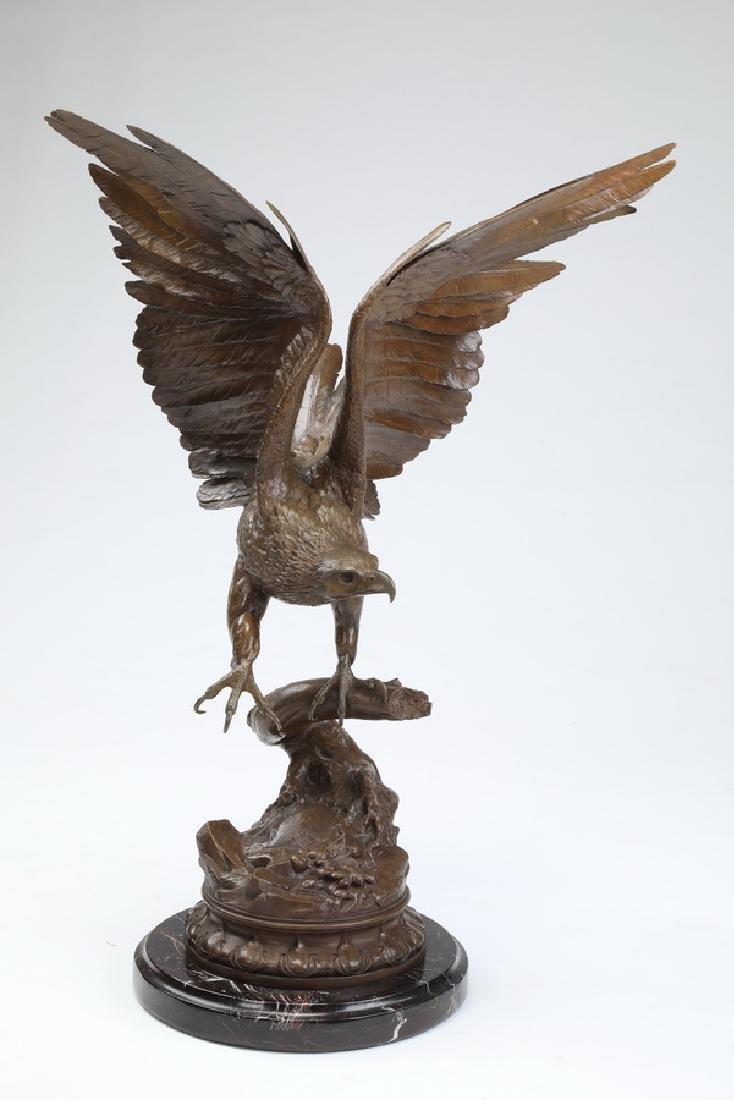 """Bronze eagle sculpture after J. Moigniez, 32""""h"""