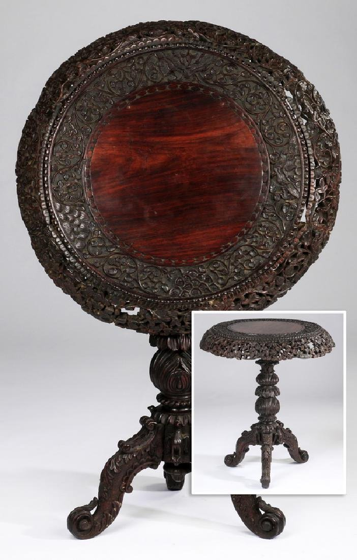 Anglo-Indian rosewood tilt-top center table, 19th c.