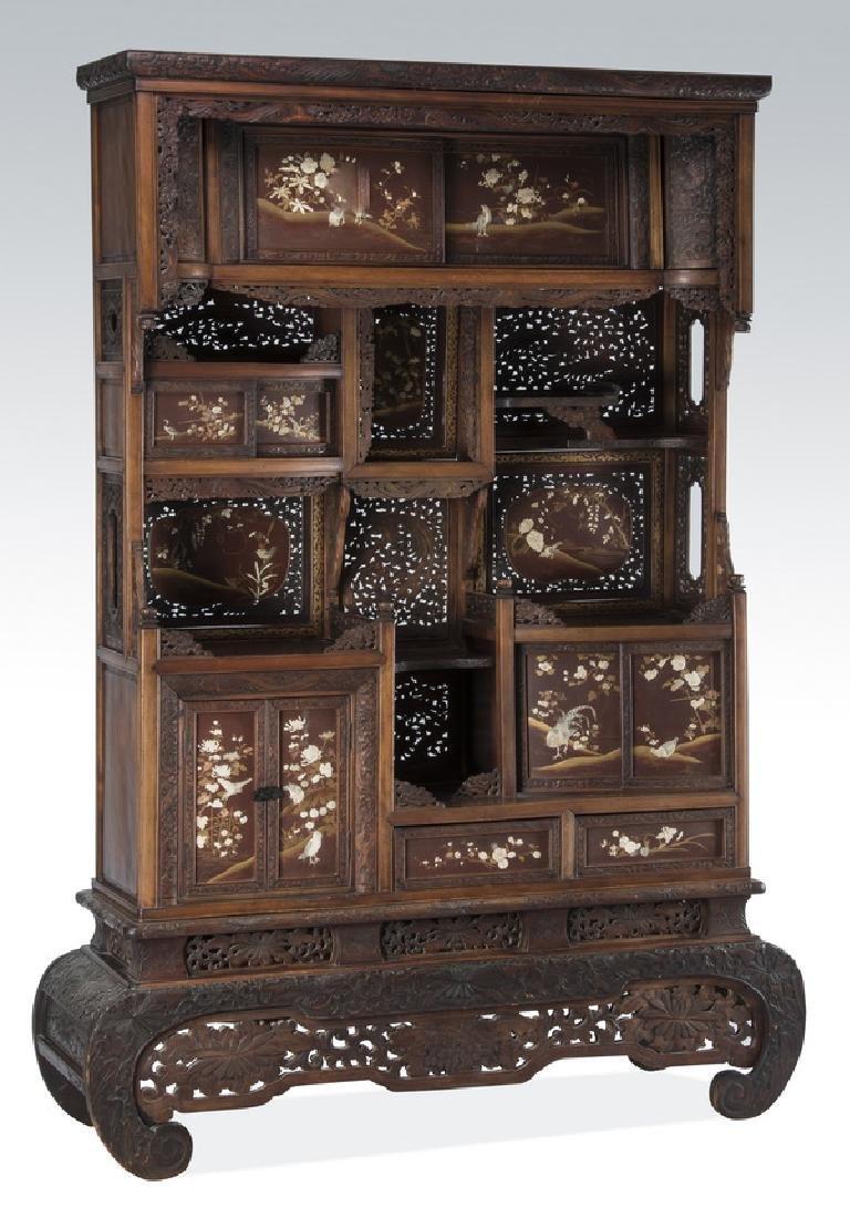 "19th c. Japanese gilt & lacquer Kazaridana, 81""h"