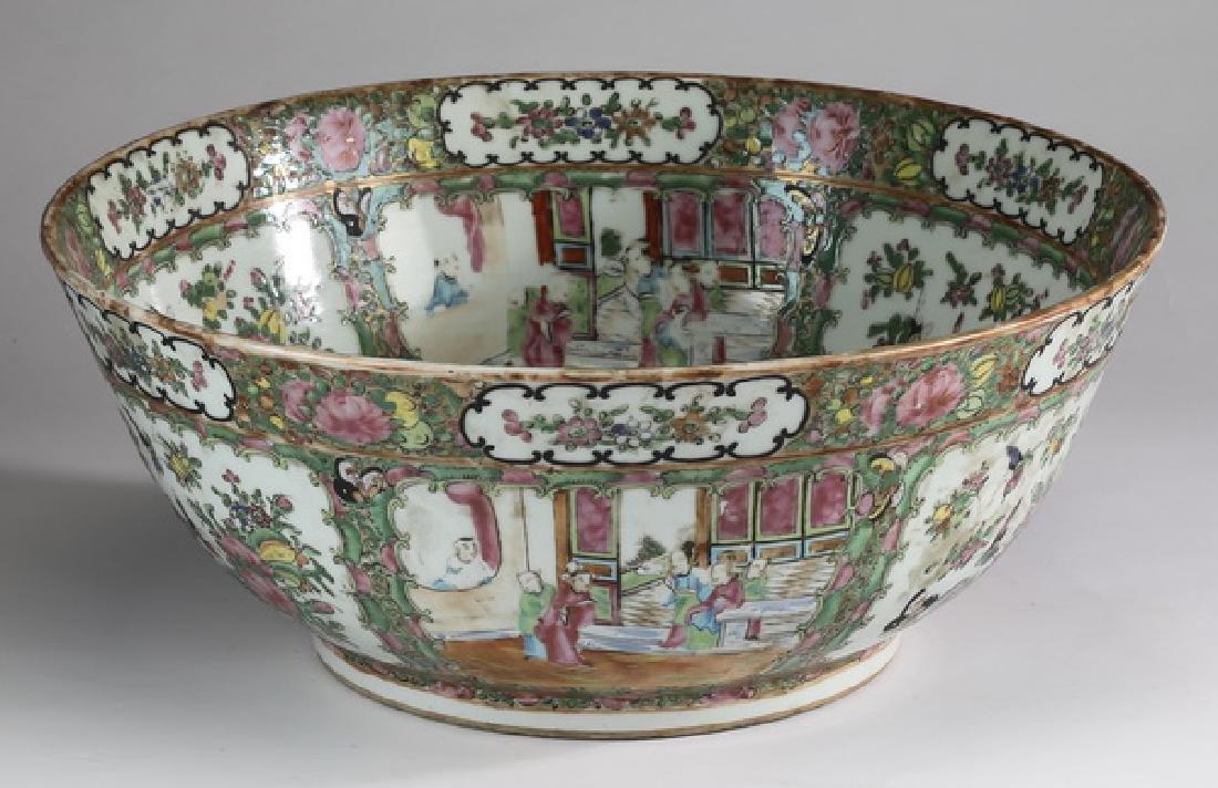 "19th c. Chinese Rose Medallion center bowl, 16""dia"