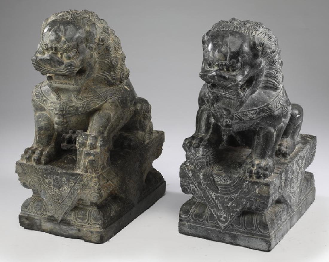 """(2) Chinese carved marble Fu lions, 21""""h"""