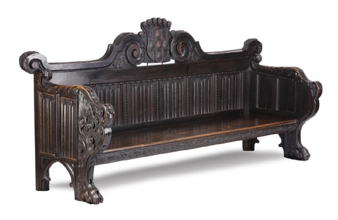 18th c. palace size Gothic Revival oak hall bench