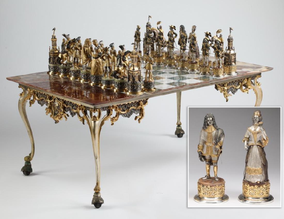Guiseppe Vasari bronze chess set w/ onyx inlaid board
