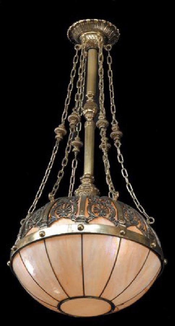 American bronze, art glass Del Monte style chandelier