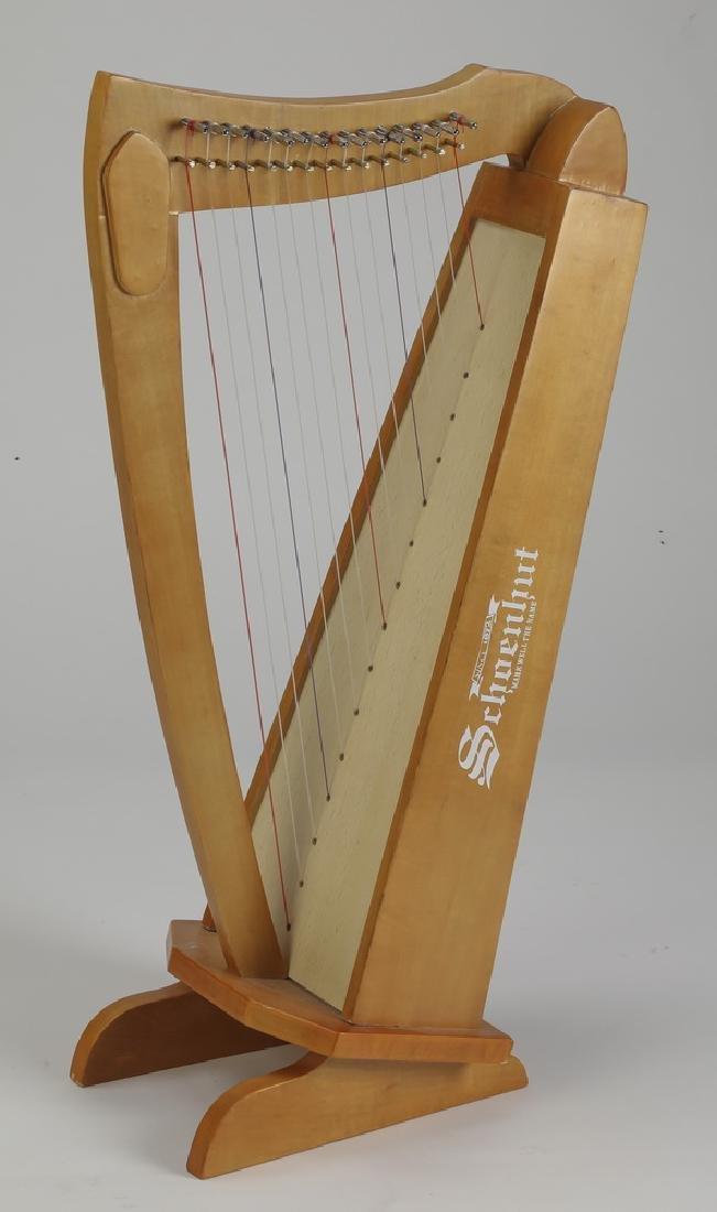 """Schoenhut children's 15-string harp in cherry, 28""""h"""