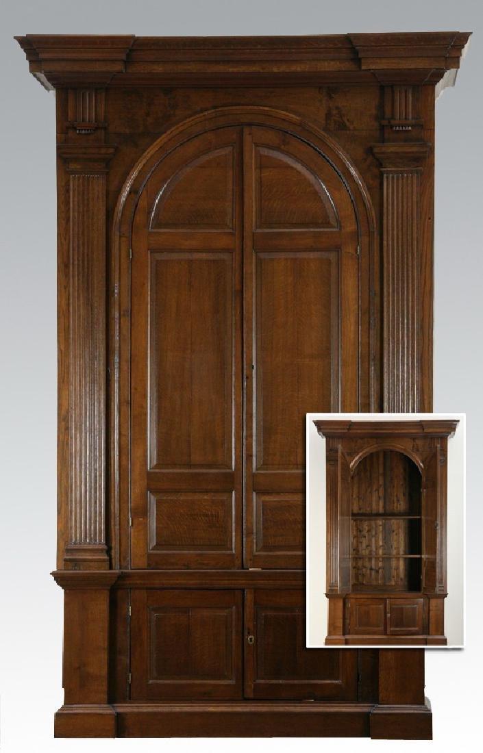 "Monumental 18th c. George II oak cabinet, 112""h"