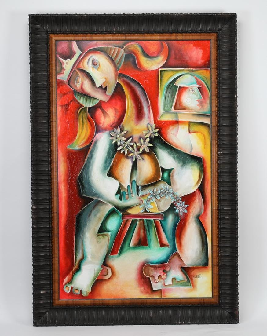 Alexandra Nechita signed painting 'Lady Lei,' 2001