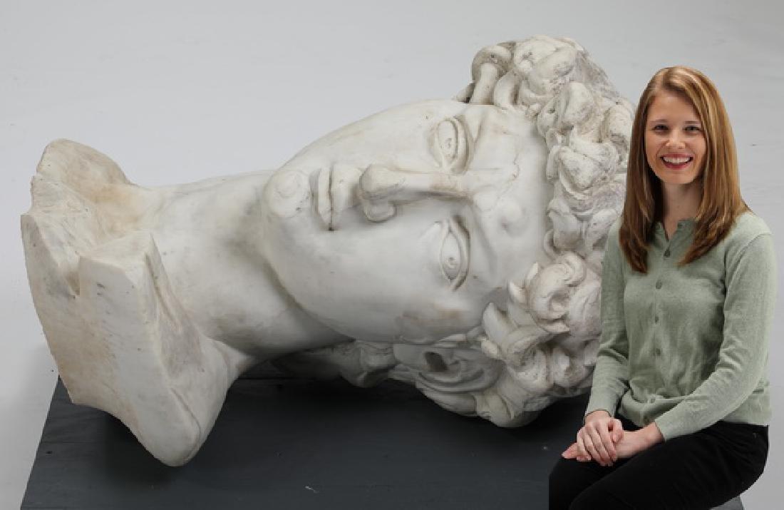 Monumental Italian carved marble head of 'David'