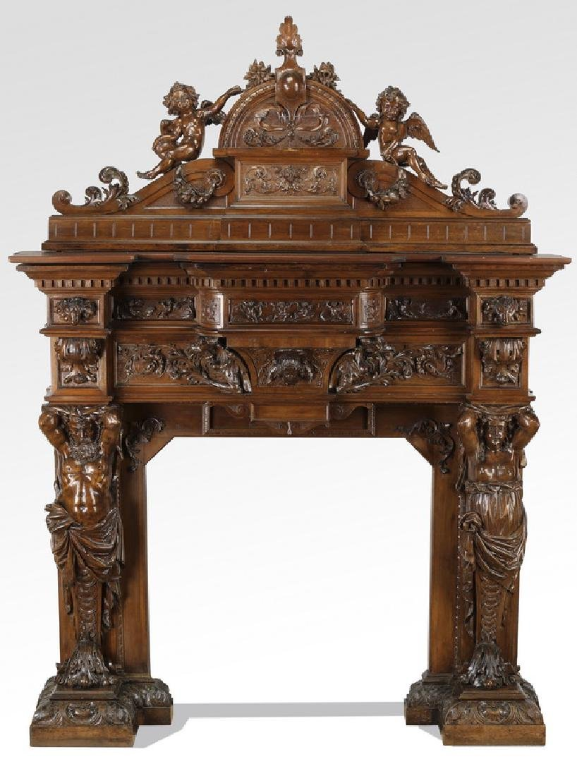 Elaborately carved 19th c. Italian figural mantel