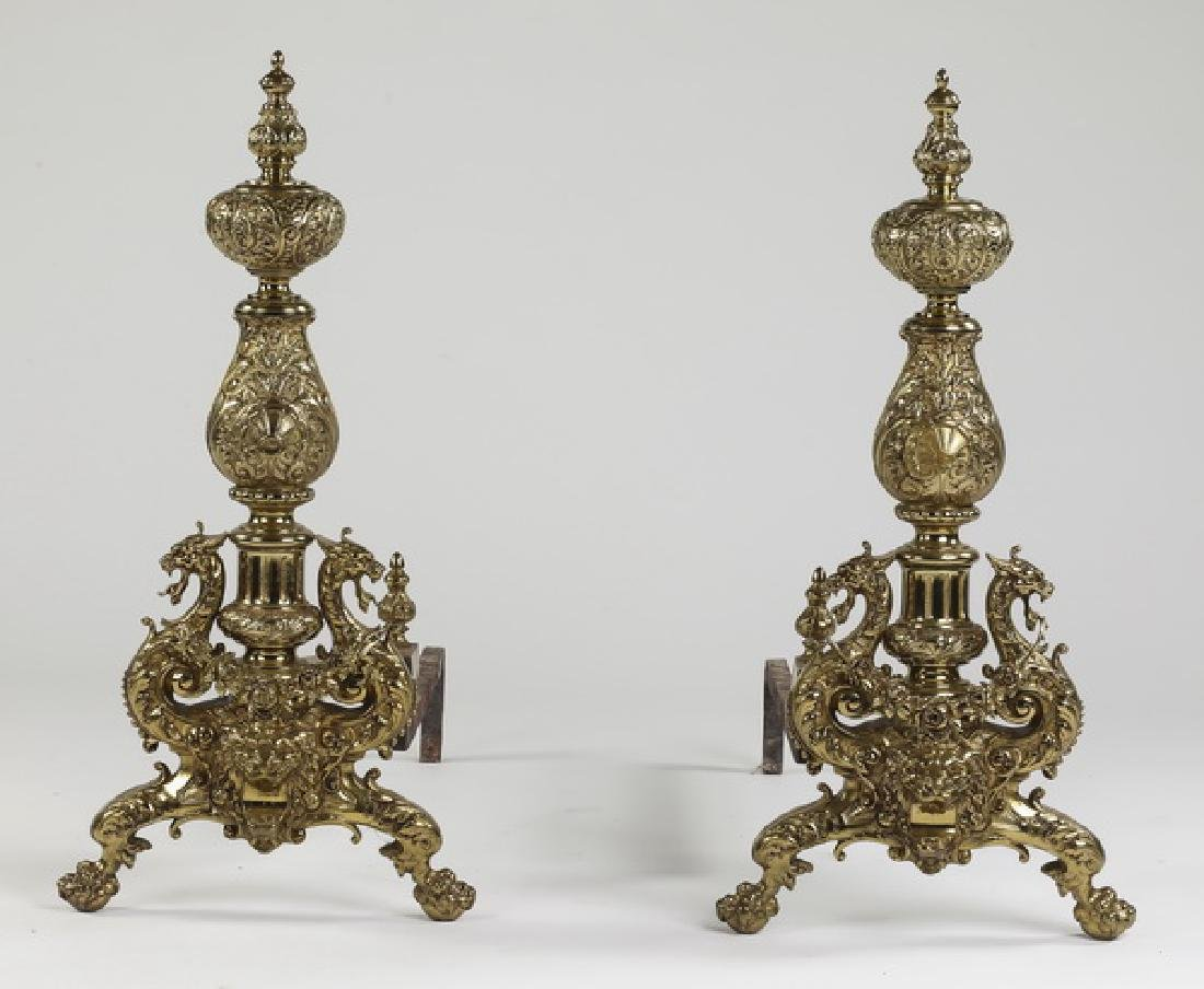 "(2) Oversized early 20th c. bronze andirons, 32""h"