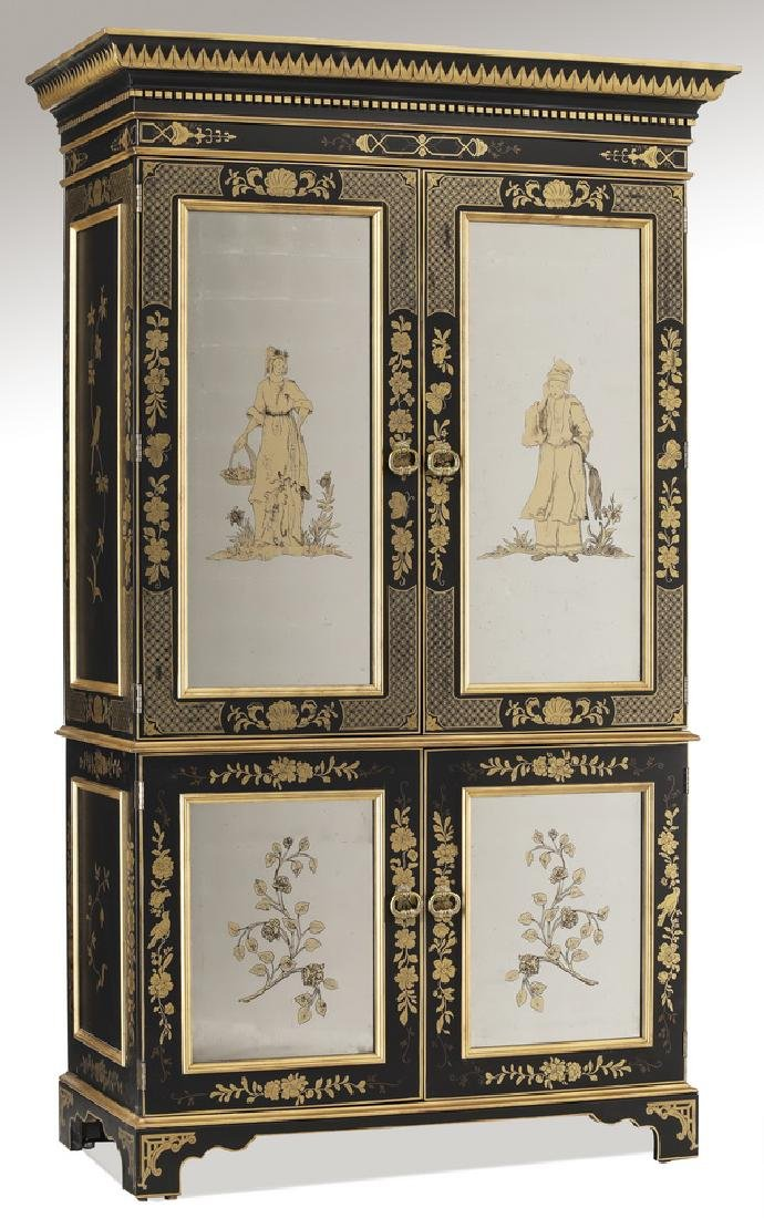 EJ Victor Chinoiserie inspired ebonized armoire