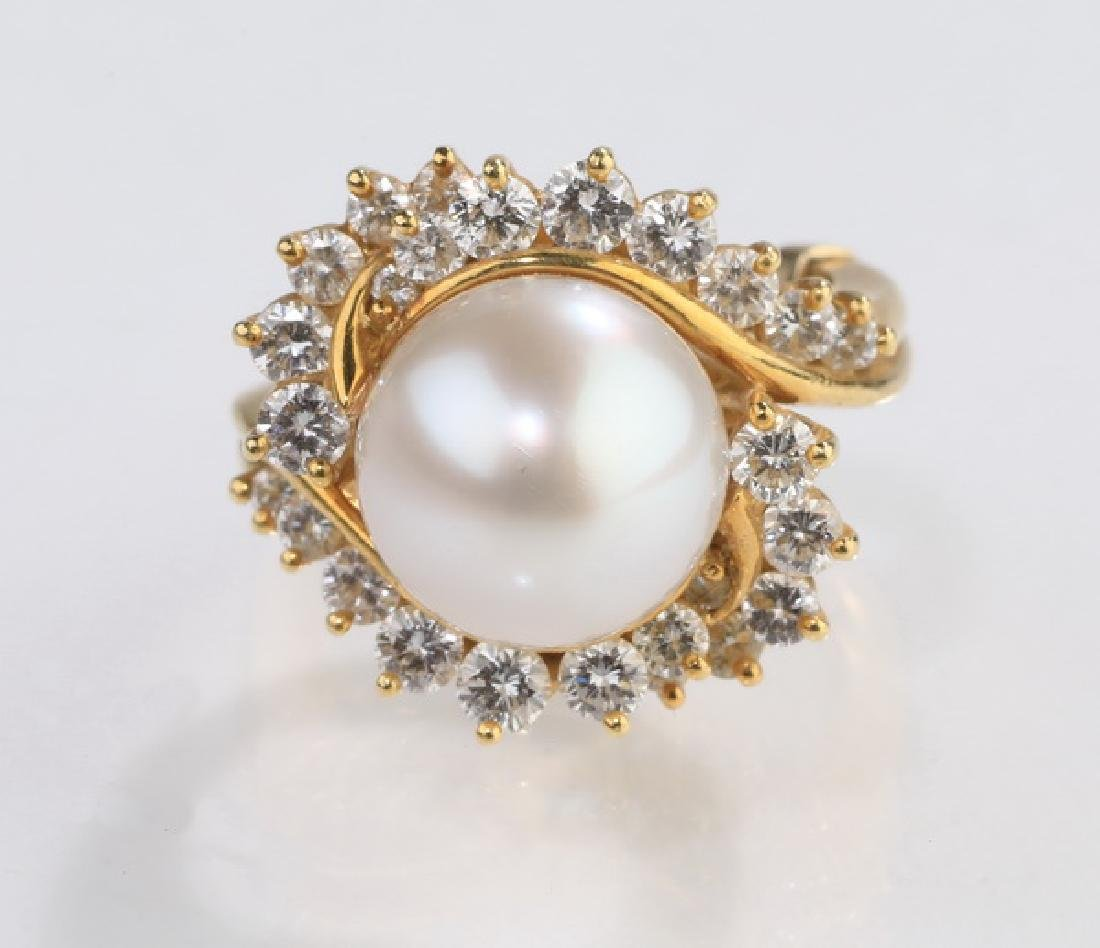South Sea pearl, diamond, & 18k ring
