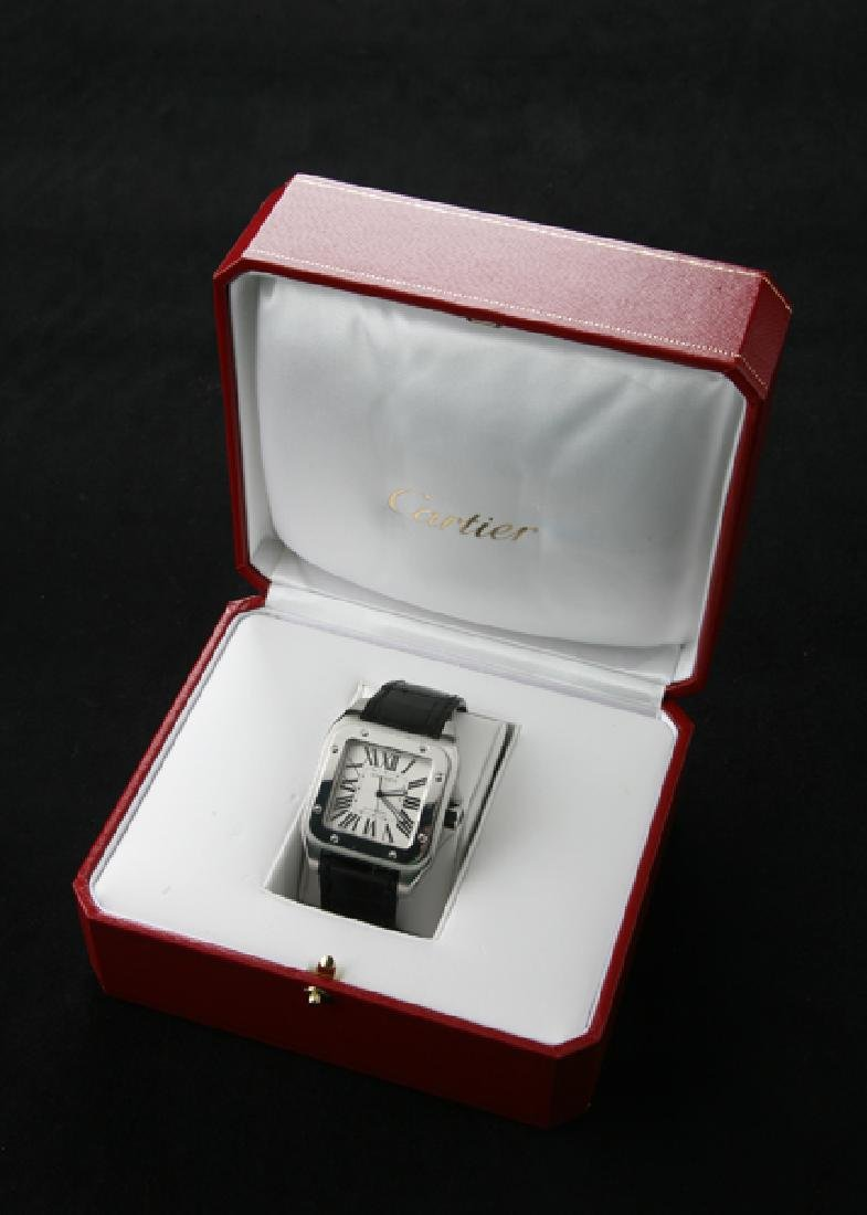 Cartier Santos 100 stainless watch w/ croc band