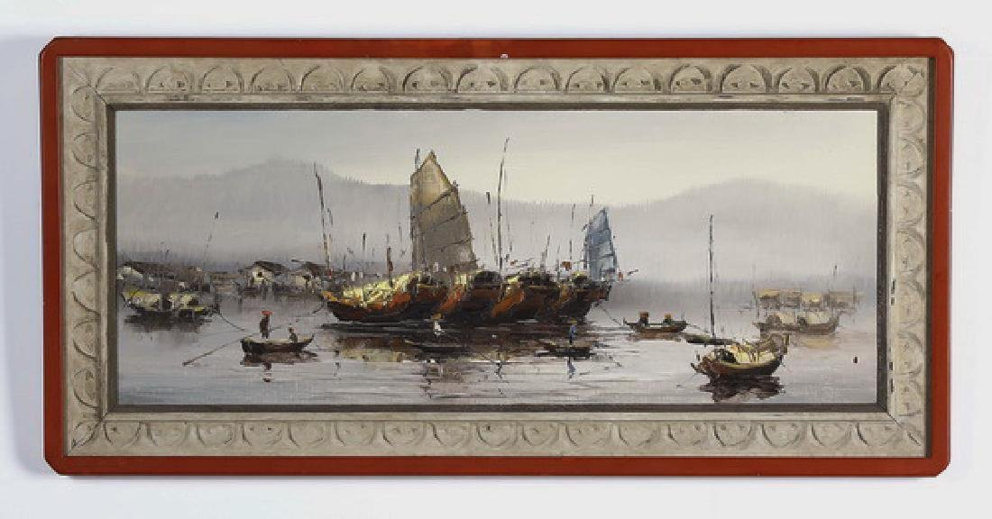Vincent Saul signed O/c titled 'River Market'