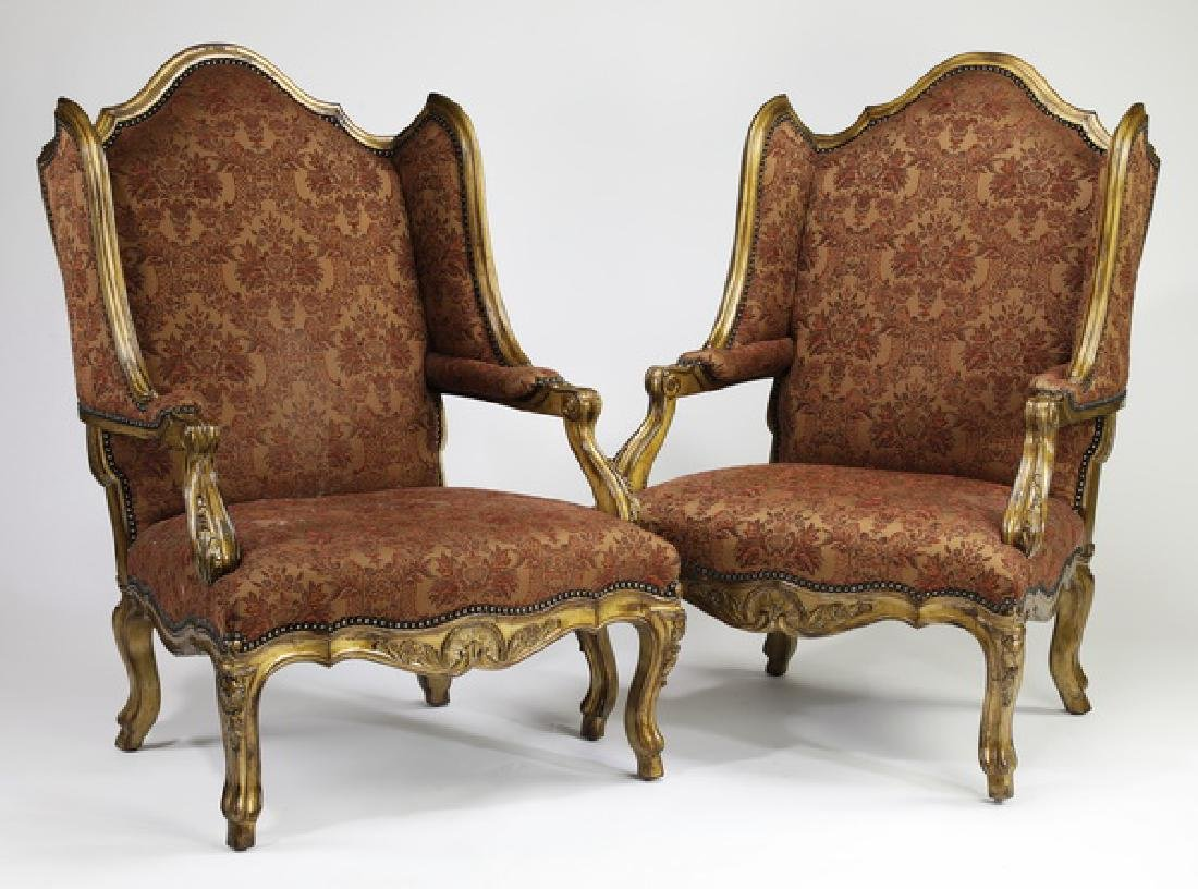 (2) Marge Carson Louis XV style armchairs in jacquard