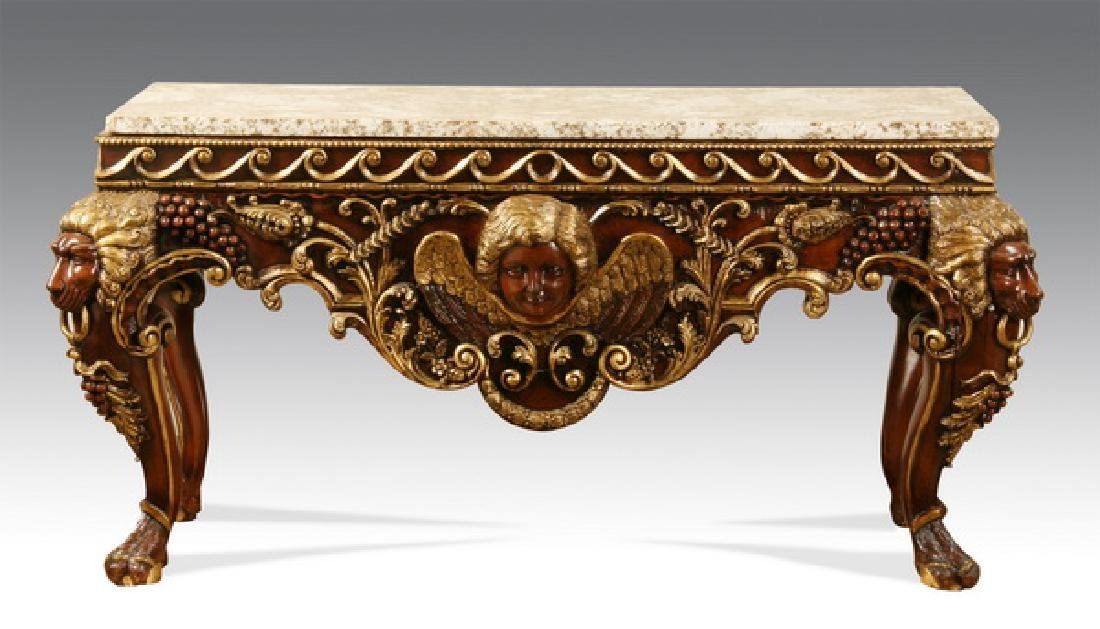 Carved and parcel gilt granite top console w/ cherubs