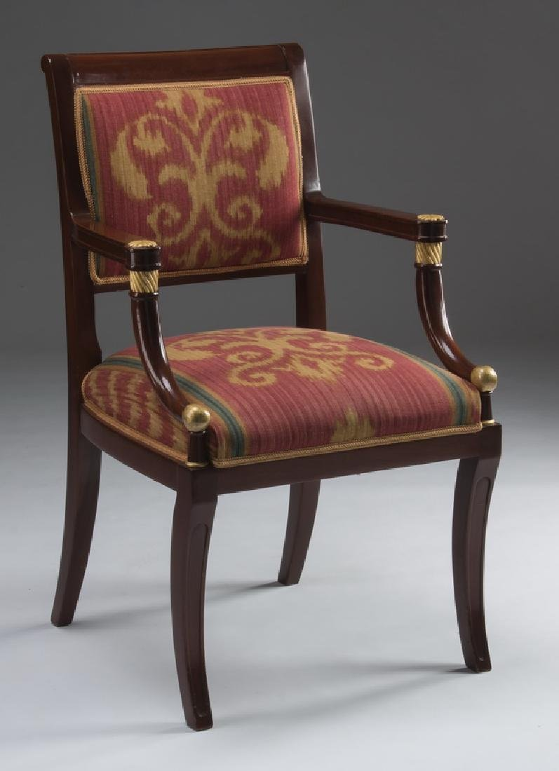 """Empire style armchair with ikat upholstery, 37""""h"""