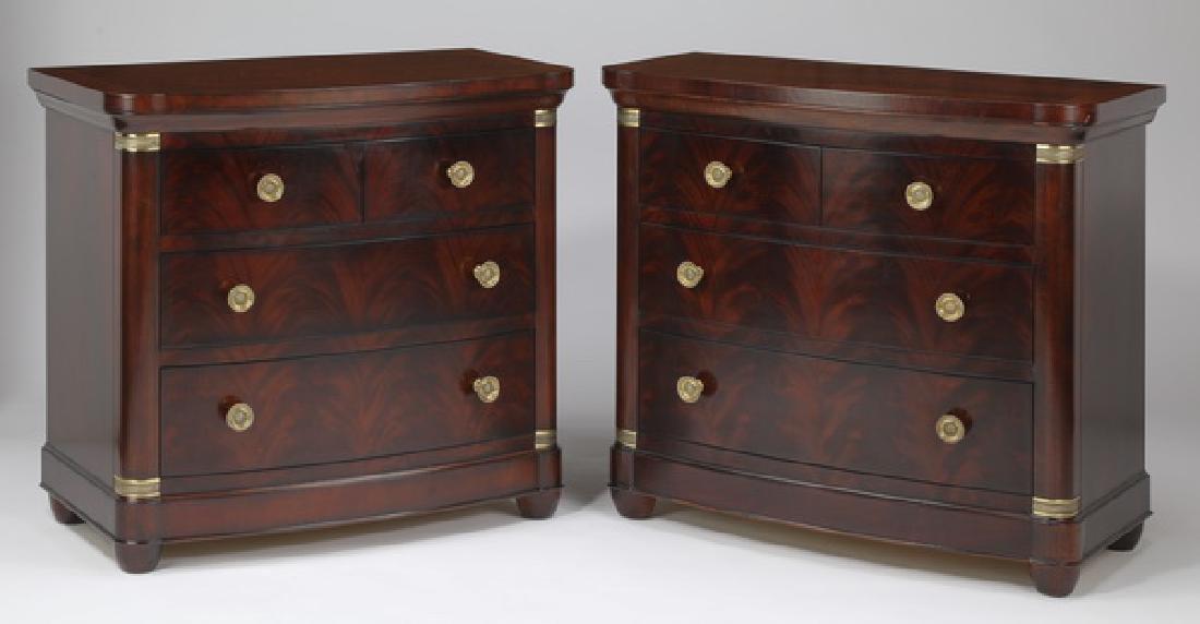 (2) Henredon mahogany bow-front chests