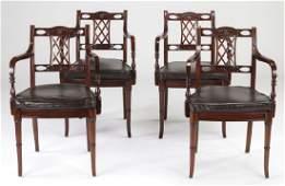(4) Maitland Smith mahogany & leather armchairs