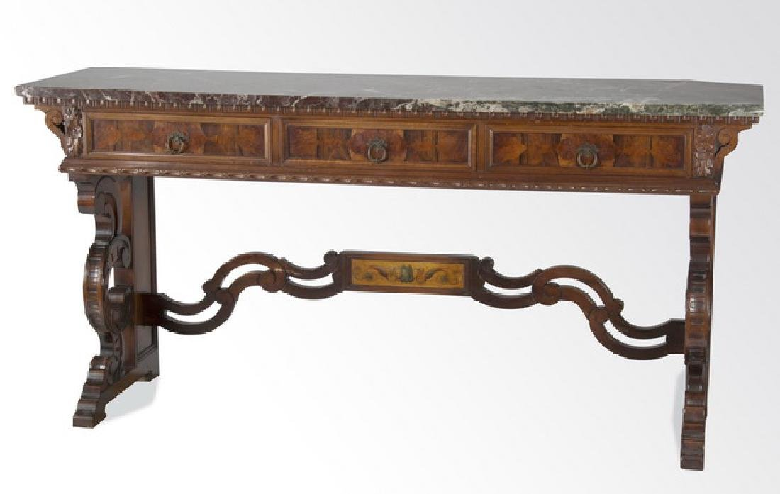 "Continental marquetry inlaid marble top console, 78""w"