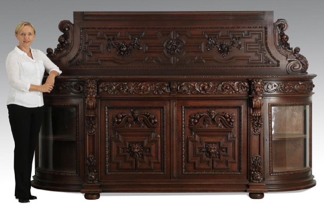 """Monumental 19th c. French oak buffet, 114""""w"""