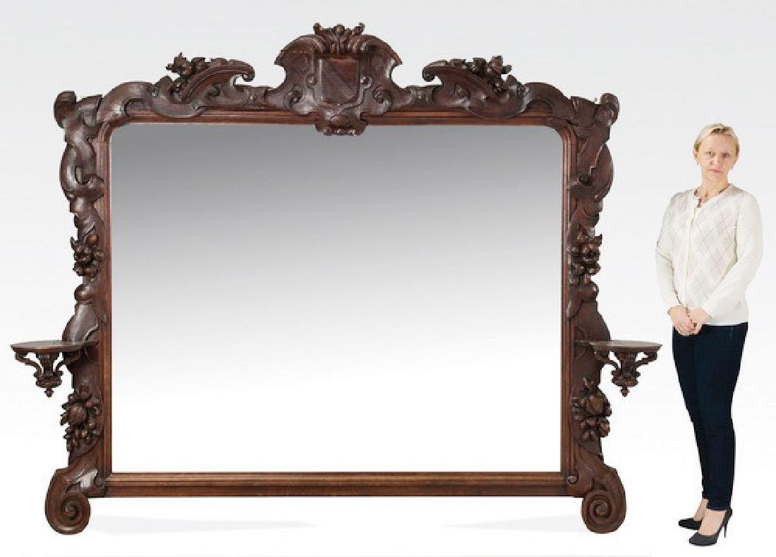 "19th c. French carved oak overmantel mirror, 82""w"