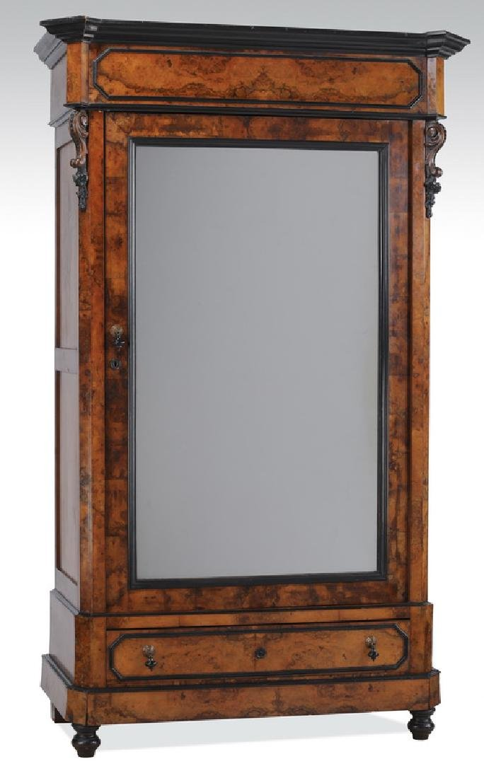 Late 19th c. Biedermeier style burl veneered armoire