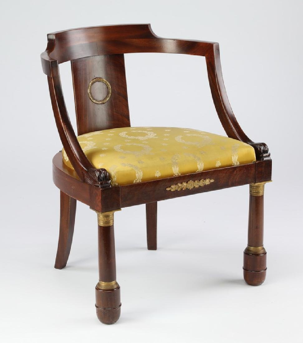 Early 20th c. French Empire style walnut chair