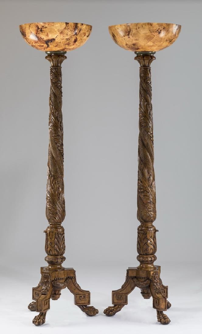 "Pair of Neoclassical style torchieres, 80""h"