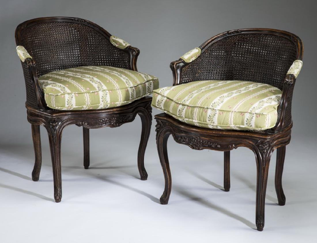 """(2) Louis XV style cane back bergeres, 33""""h"""