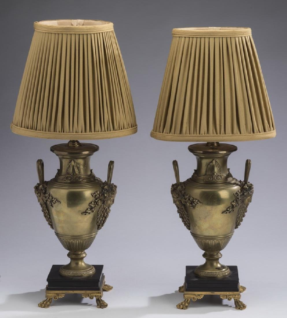(2) Late 19th c. gilt bronze urns, now as lamps